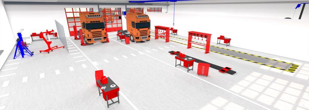 vue 3D atelier de maintenance poids lourds