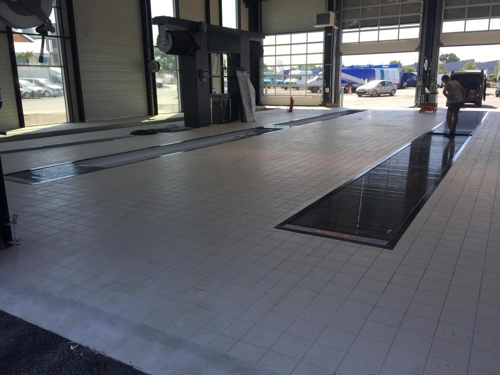fosse de maintenance pour réparation poids lourds chez mercedes